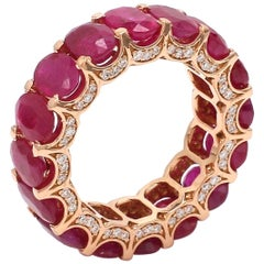 8.77 Ruby Diamond 18 Karat Rose Gold Eternity Ring