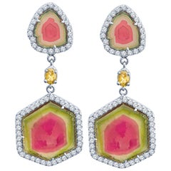 8.77ct Tri-Color Tourmaline Earrings w 1.05ct Diamond and 0.25ct Green Diamond