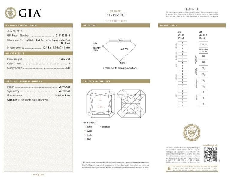8,78 Karat Radiantschliff Diamant Verlobungsring GIA I SI 1 in Platin 6