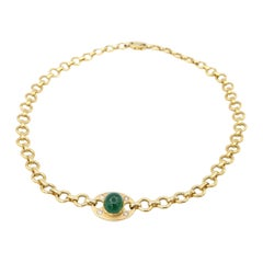 8.79 Carat Cabochon Emerald Diamond 18k Yellow Gold Tag Rolo Chain Necklace