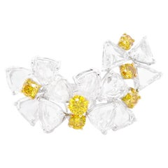 8.79 Carat D Color White Diamond and 1.23 Carat Vivid Yellow Collectors Ring