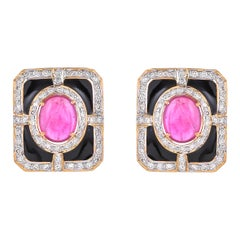 8.79 Carat Glass Fill Ruby Diamond Black Enamel 18 Karat Yellow Gold Earrings