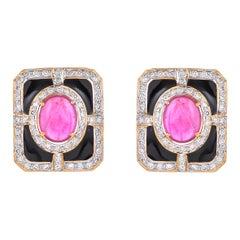 8.79 Carat Glass Fill Ruby Diamond Black Enamel 18 Karat Yellow Gold Earring
