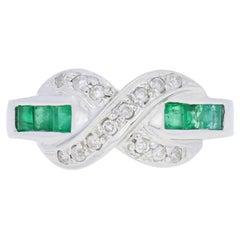 .87ctw Square Cut Emerald & Diamond Ring, 14k White Gold