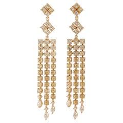 8.8 Carat Yellow Diamond Earrings in 18 Karat Yellow Gold