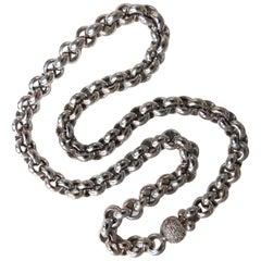 88 Gram 18 Karat 1.00 Carat Diamonds Venetian Link Circles Necklace