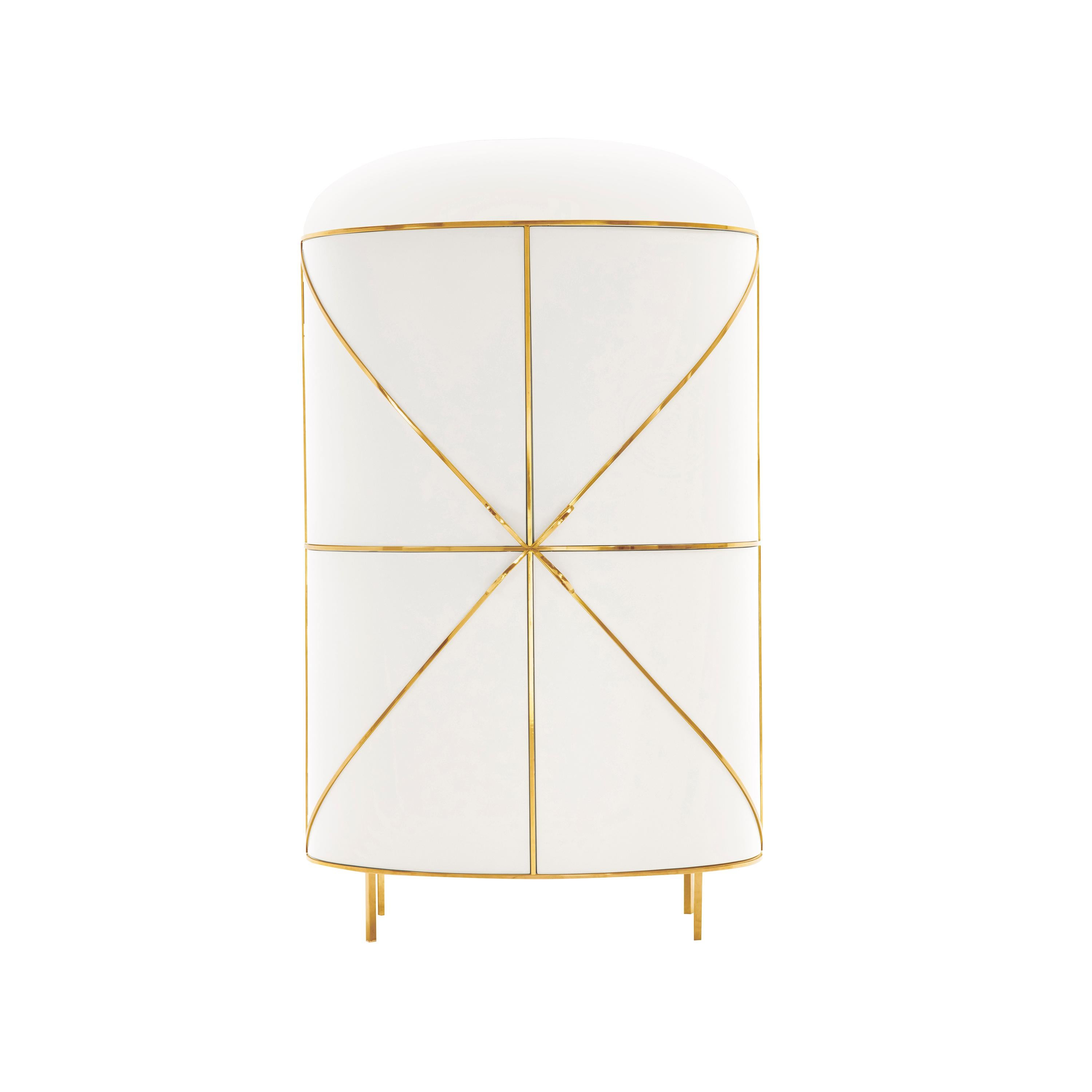88 Secrets White Bar Cabinet with Gold Trims by Nika Zupanc