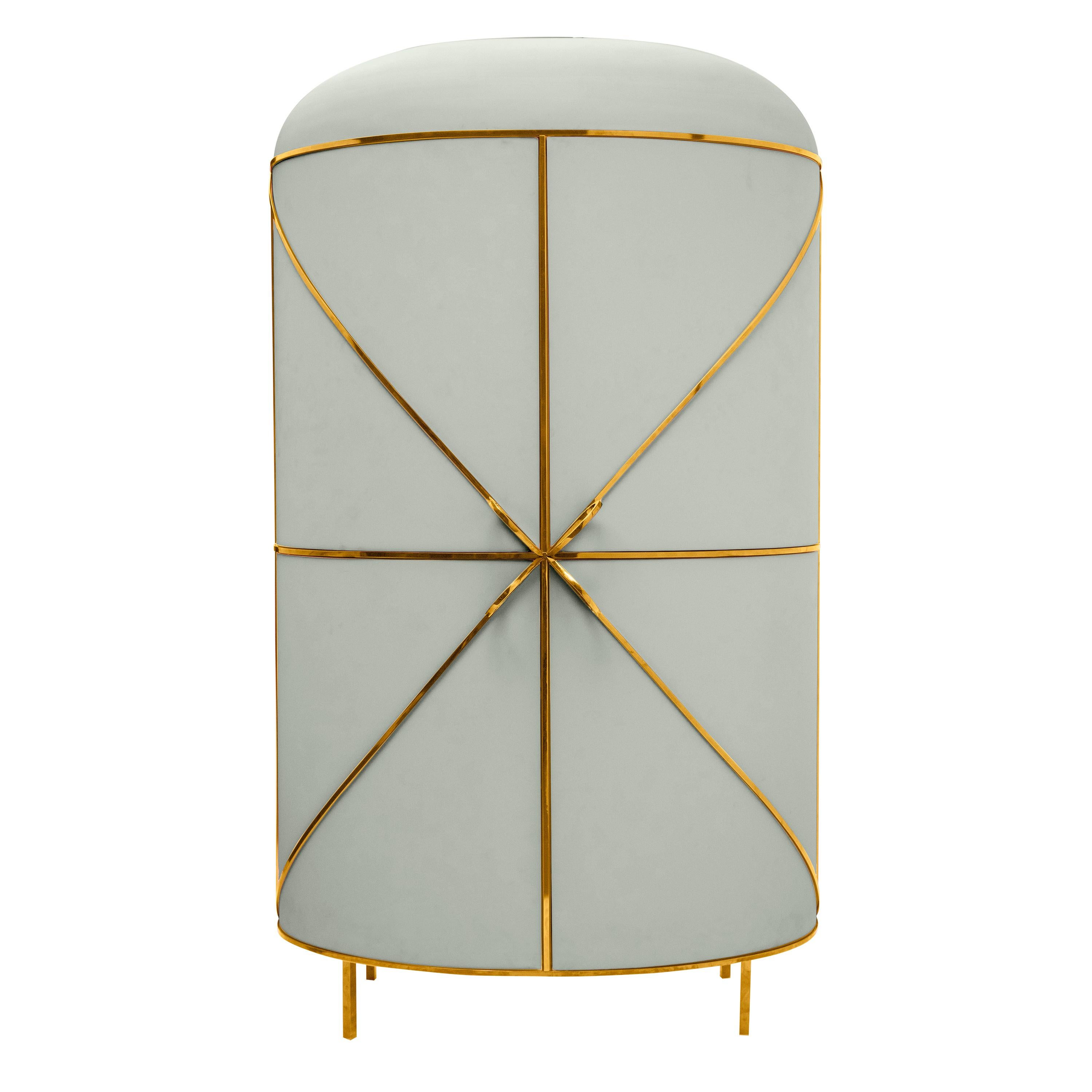 88 Secrets Gray Bar Cabinet with Gold Trims by Nika Zupanc