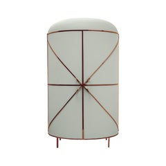 88 Secrets Gray Bar Cabinet Rose with Gold Trims by Nika Zupanc