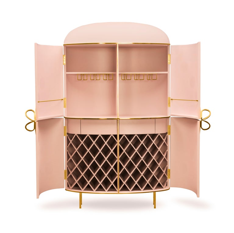 Modern 88 Secrets Pink Bar Cabinet with Gold Trims by Nika Zupanc For Sale