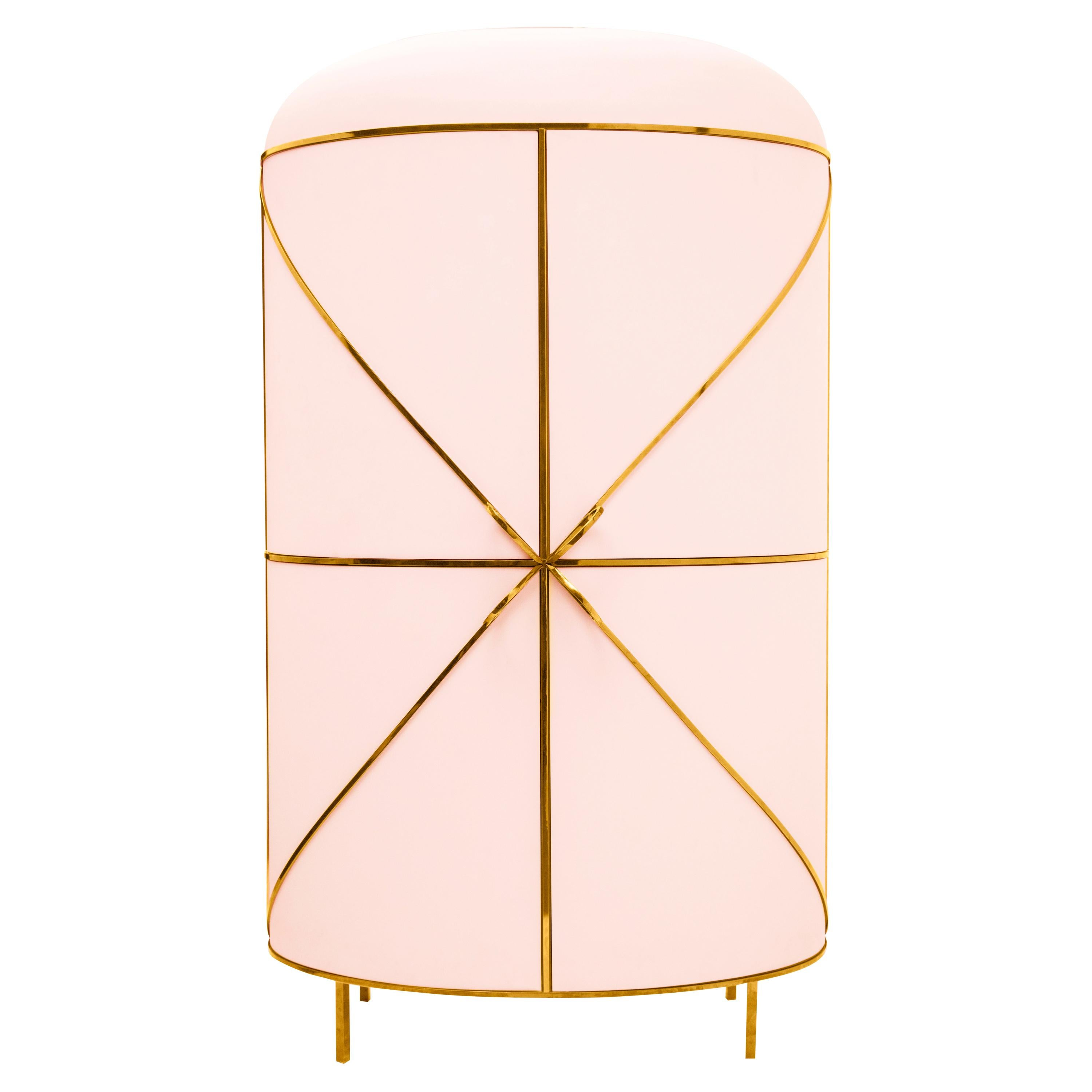 88 Secrets Pink Bar Cabinet with Gold Trims by Nika Zupanc