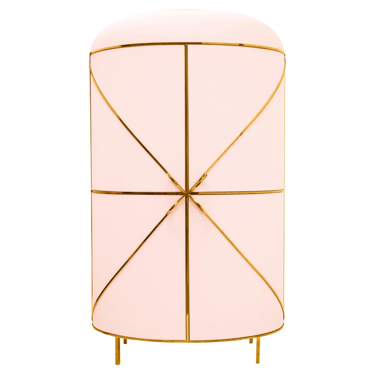 88 Secrets Pink Bar Cabinet with Gold Trims by Nika Zupanc For Sale