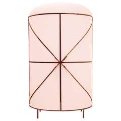 88 Secrets Pink Bar Cabinet with Rose Gold Trims by Nika Zupanc