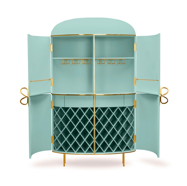 Modern 88 Secrets Mint Green Bar Cabinet with Gold Trims by Nika Zupanc For Sale