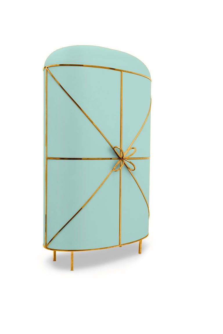Hand-Crafted 88 Secrets Mint Green Bar Cabinet with Gold Trims by Nika Zupanc For Sale