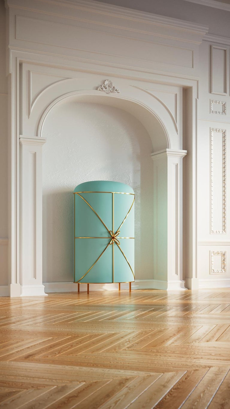 Indian 88 Secrets Mint Green Bar Cabinet with Gold Trims by Nika Zupanc For Sale