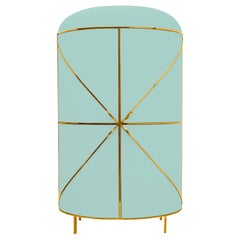 88 Secrets Mint Green Bar Cabinet with Gold Trims by Nika Zupanc