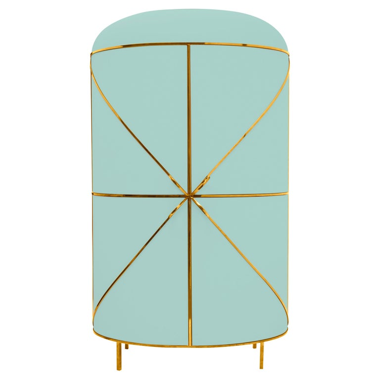 88 Secrets Mint Green Bar Cabinet with Gold Trims by Nika Zupanc For Sale