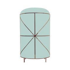 88 Secrets Mint Green Bar Cabinet with Rose Gold Trims by Nika Zupanc