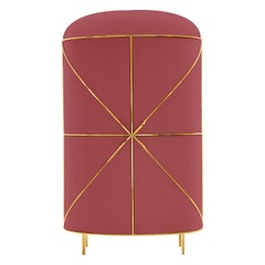 88 Secrets Rose Pink Bar Cabinet with Gold Trims by Nika Zupanc