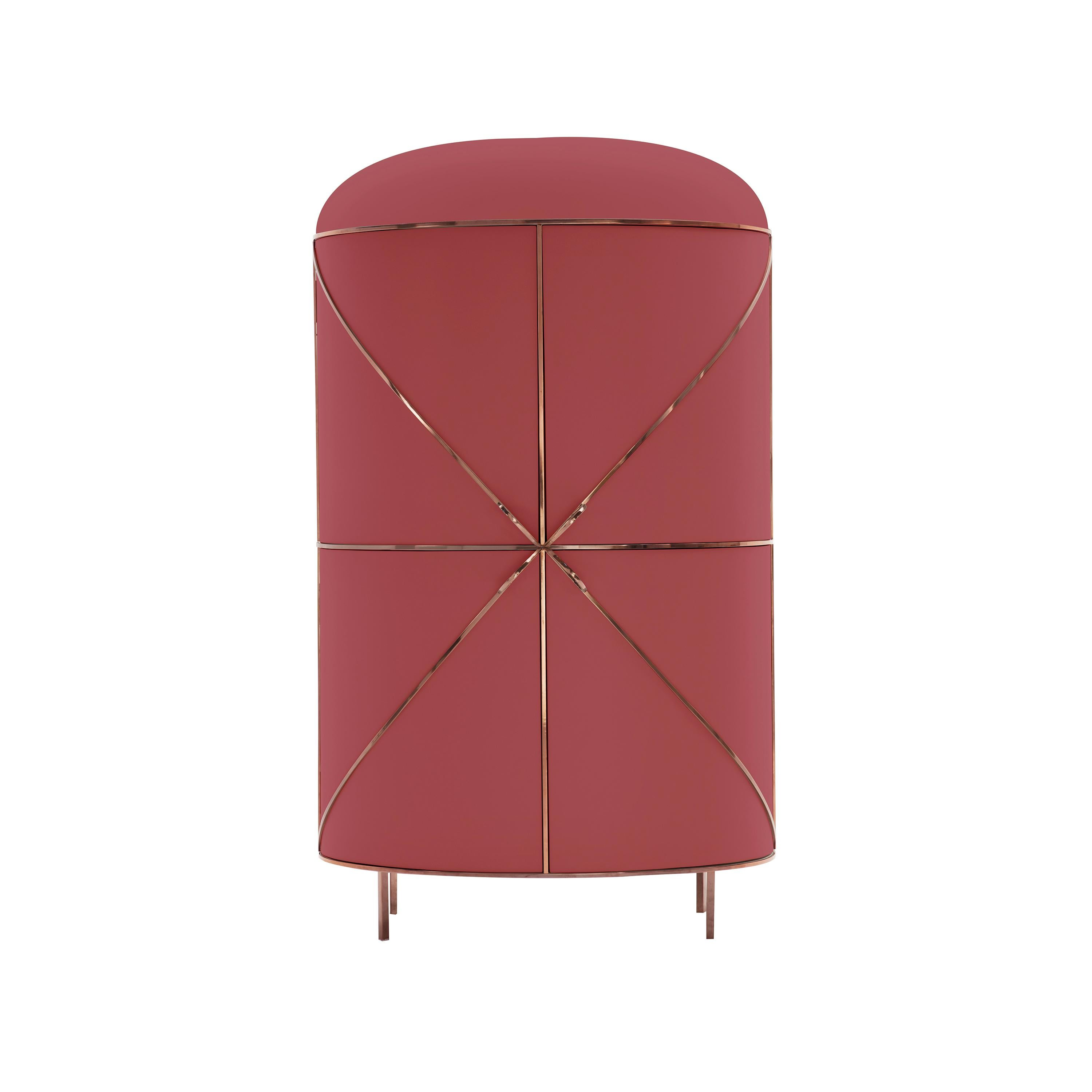 88 Secrets Rose Pink Bar Cabinet with Rose Gold Trims by Nika Zupanc