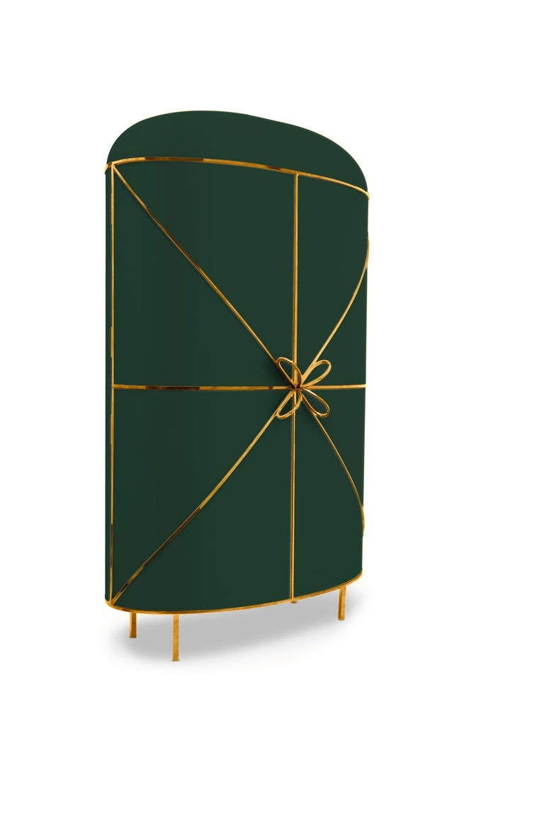 Modern 88 Secrets Green Bar Cabinet with Gold Trims by Nika Zupanc For Sale