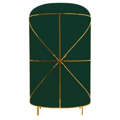 88 Secrets Green Bar Cabinet with Gold Trims by Nika Zupanc