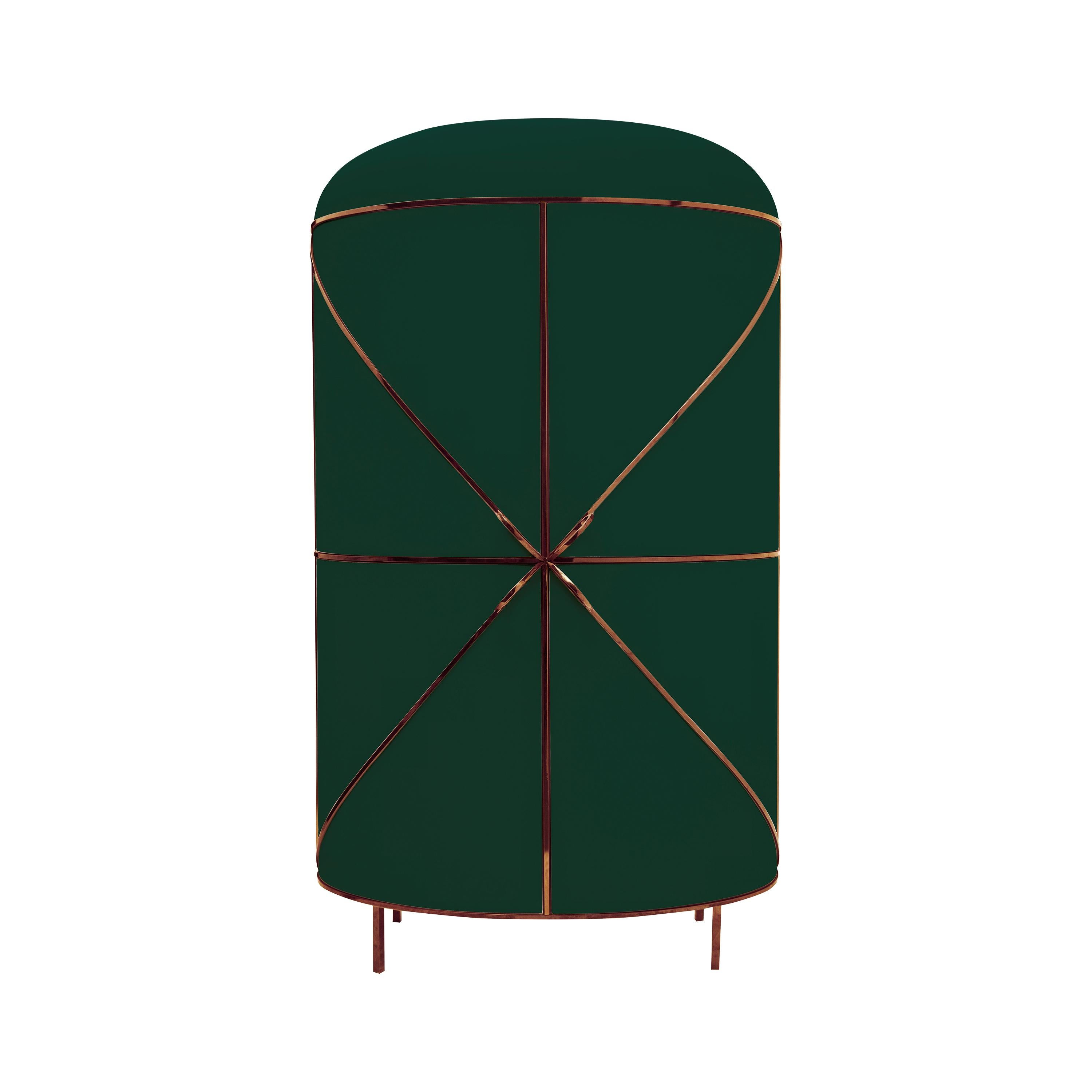 88 Secrets Green Bar Cabinet with Rose Gold Trims by Nika Zupanc