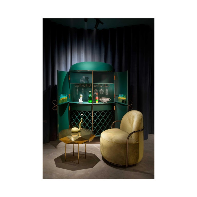 Indian 88 Secrets Green Bar Cabinet with Gold Trims by Nika Zupanc For Sale