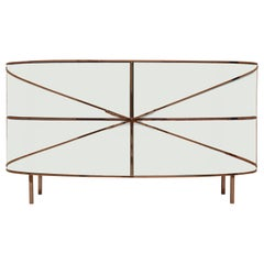 88 Secrets White Sideboard with Rose Gold Trims by Nika Zupanc