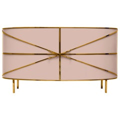 88 Secrets Pink Sideboard with Gold Trims by Nika Zupanc