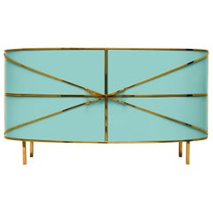 88 Secrets Mint Green Sideboard with Gold Trims by Nika Zupanc