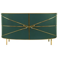 88 Secrets Green Sideboard with Gold Trims by Nika Zupanc