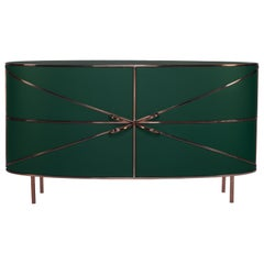 88 Secrets Green Sideboard with Rose Gold Trims by Nika Zupanc
