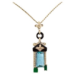 8.80 Carat Aquamarine 2.35 Carat Emerald White Diamond Onyx White Gold Necklace