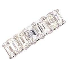 8.80 Carat Emerald Cut Diamond Eternity Band Ring 18 Karat White Gold