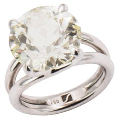 8.80 Carat Old European Cut Handmade White Gold Diamond Solitaire Ring