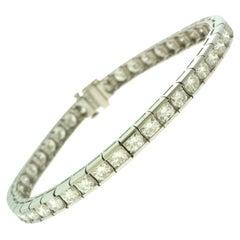 8.80 Total Carat Weight Diamond Chain Link Platinum Tennis Bracelet