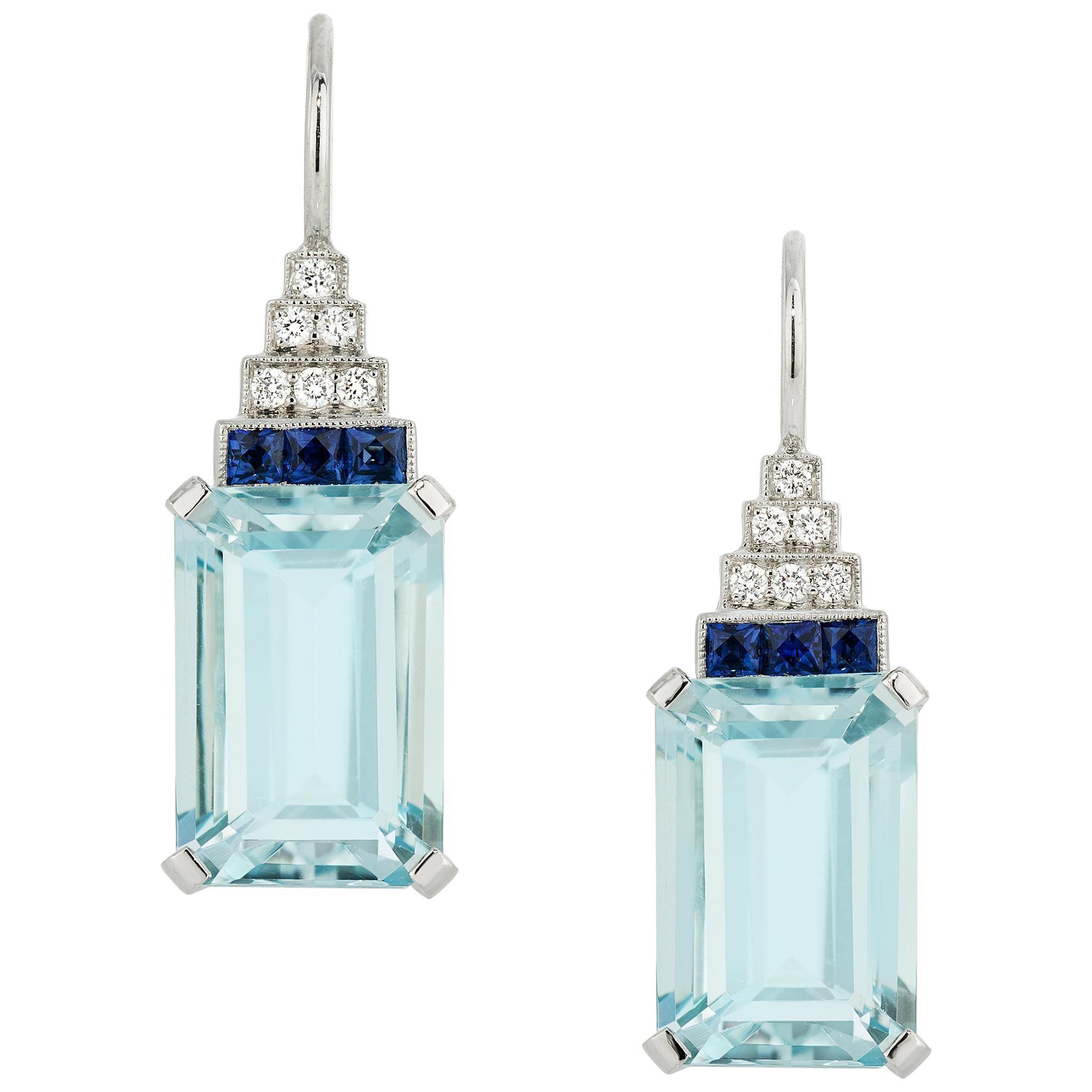 8.81 Carat Emerald Cut Aquamarine, French Cut Sapphire, and Diamond Earrings