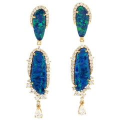 8.81 Carat Opal Diamond 18 Karat Gold Earrings