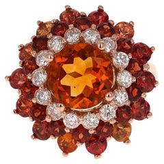 8.81 Carat Sapphire Citrine Garnet and Diamond 14 Karat Rose Gold Cocktail Ring