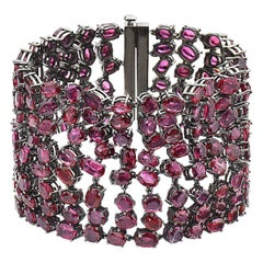88.11 Carat 14 Karat Black Rhodium Gold Ruby and Black Diamond Bracelet