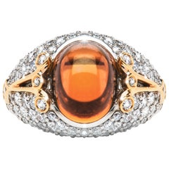 8.82 Carat Cognac Tourmaline Cabochon Diamond Cocktail Ring Natalie Barney