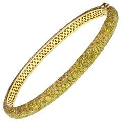 8.82 Carat Fancy Vivid Yellow Diamond Eternity Bangle