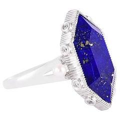 8.82 Carat Lapis Lazuli Ring in 18 Karat White Gold with Diamonds and Pearls