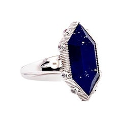 8.82 Carat Lapis Lazuli Ring in 18 Karat White Gold with Diamonds and Pearls