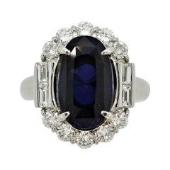 8.82 Carat Sapphire Diamond Platinum Cocktail Ring, GIA Certified