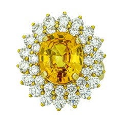 8.83 Carat 18 Karat Gold Yellow Sapphire Diamond Cocktail Ring