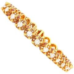 8.83 Carat Round-Brilliant Cut Diamond, Ruby and Rose Gold Tennis Bracelet