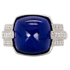 8.83 Carat Sugarloaf Cushion Cut Lapis and 0.50 Carat Diamonds in Platinum Ring